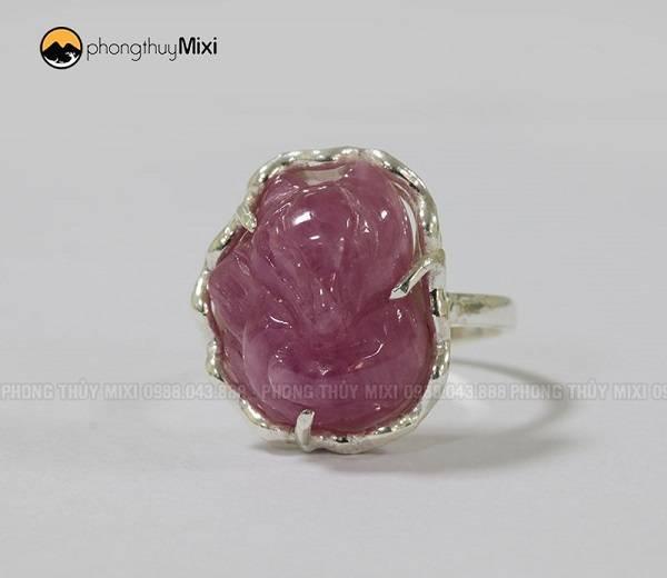 Nhẫn bạc Hồ Ly Sapphire hồng
